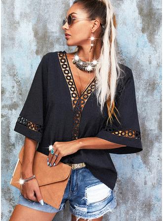 Lace Solid V-Neck 3/4 Sleeves Elegant Blouses