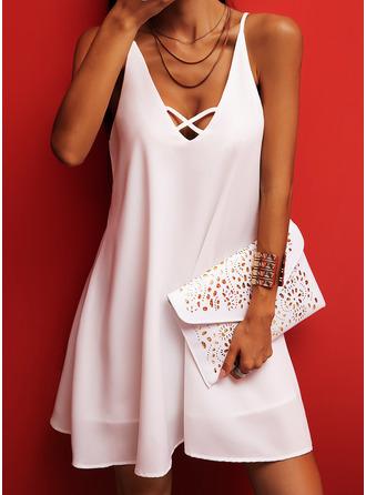 Solid Shift Sleeveless Mini Casual Type Dresses