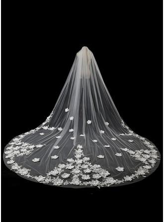 Uno strato Bordi in pizzo Velare da sposa cattedrale con Fiocco in raso/Pizzo