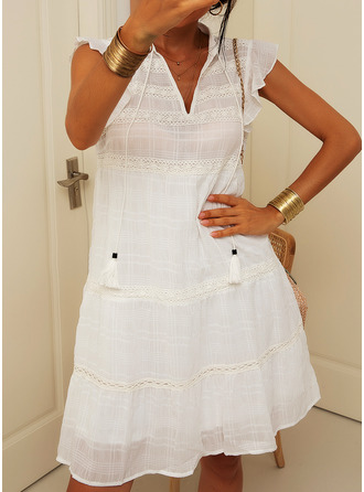 Lace Solid Shift Cap Sleeve Mini Casual Vacation Dresses