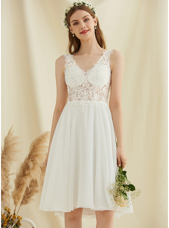 A-Line V-neck Knee-Length Chiffon Lace Wedding Dress With Sequins