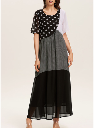 Color Block PolkaDot Print Shift Short Sleeves Maxi Casual Dresses