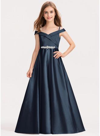 Платье Для Балла/Принцесса Выкл-в-плечо Длина до пола Атлас Платье Юнных Подружек Невесты