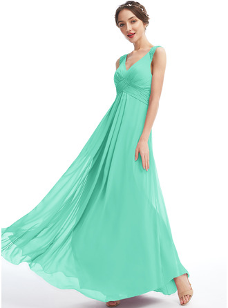 A-Line V-neck Floor-Length Bridesmaid Dress With Lace