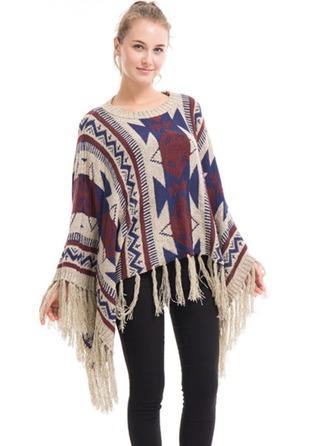 impresión geométrica de gran tamaño/moda/simple/Clima frío La lana artificial Poncho