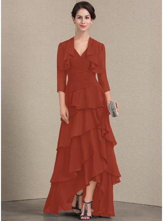 Трапеция V-образный асимметричный шифон Платье Для Матери Невесты с развальцовка блестки Ниспадающие оборки