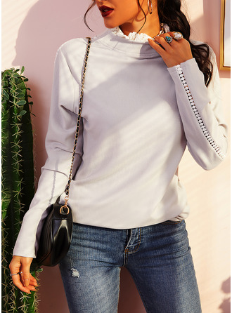 Solid High Neck Long Sleeves Casual Blouses