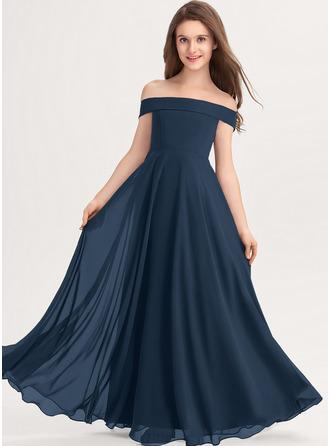 Çan Off-Omuz Uzun Etekli Şifon Küçük Nedime Elbisesi
