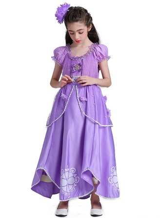 A-Line/Princess Ankle-length Flower Girl Dress - Polyester Short Sleeves Scoop Neck
