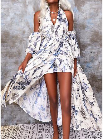 Bloemen Print A-lijn-jurk Lange Mouwen Asymmetrische Boho Vakantie schaatser ()