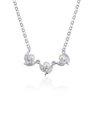 Damen Klassische Art 925 Sterlingsilber mit kubisch Zirkonia/Faux-Perlen Halsketten Braut/Brautjungfern