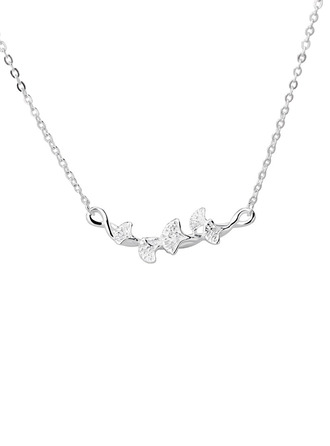 Ladies' Charming 925 Sterling Silver Necklaces For Bridesmaid/For Friends