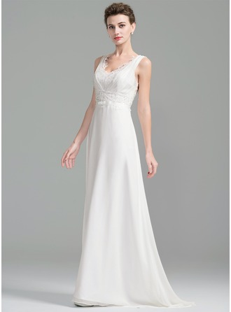A-Line/Princess V-neck Sweep Train Chiffon Lace Wedding Dress With Ruffle Beading Sequins Bow(s)