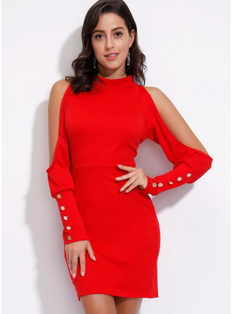 Above Knee Stand collar Polyester Button/Solid Long Sleeves/Cold Shoulder Sleeve Fashion Dresses