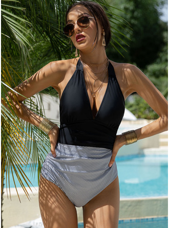 One-piece Chinlon Stripe Print Women's Yes Swimwear