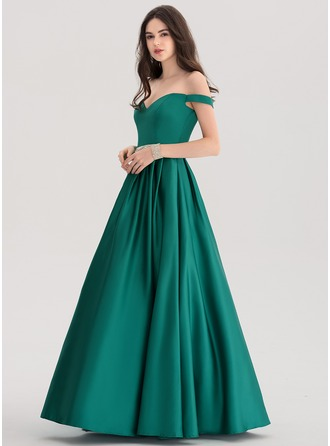 Ball-Gown Off-the-Shoulder Floor-Length Satin Evening Dress With Beading