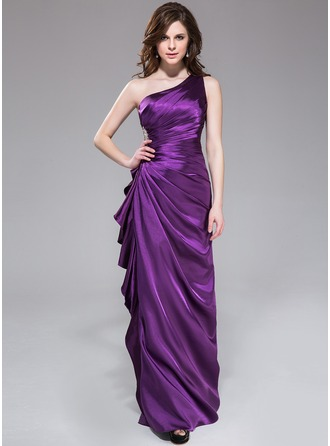 Sheath/Column One-Shoulder Floor-Length Charmeuse Bridesmaid Dress With Beading Cascading Ruffles