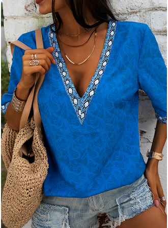 Lace Solid V-Neck 1/2 Sleeves Casual