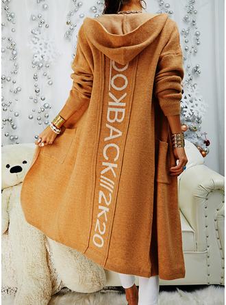 Mit Kapuze Lässige Kleidung Druck Taschen Pullover