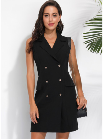Sheath Suit Collar Polyester Dresses