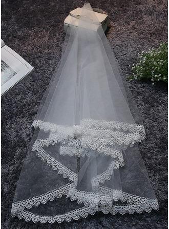 1 couche Bord en dentelle Voiles de mariée valse avec Motif appliqué