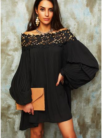 Kant Solide Shiftjurken Lange Mouwen Mini Zwart jurkje Elegant ()