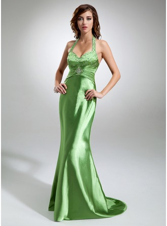 Trumpet/Mermaid Halter Sweep Train Charmeuse Prom Dress With Ruffle Beading