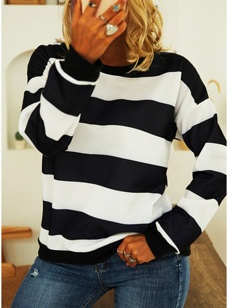 Color Block Striped Round Neck Long Sleeves Casual T-shirt