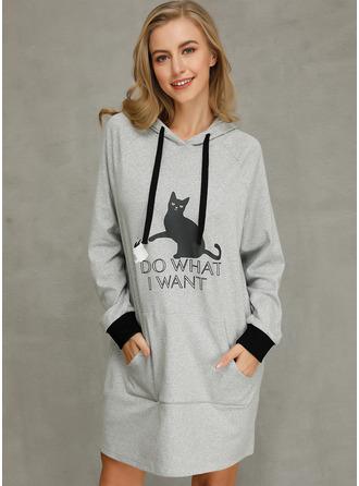 Animal Print Shift Long Sleeves Mini Casual Dresses
