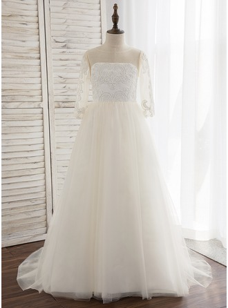 Ball Gown Sweep Train Flower Girl Dress - Tulle/Lace Long Sleeves Scoop Neck With Appliques