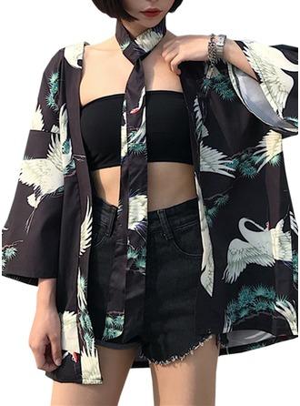 Brud Brudepike Polyester med Kort Kimono robes