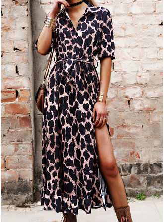 Leopard A-line 3/4 Sleeves Midi Casual Skater Dresses