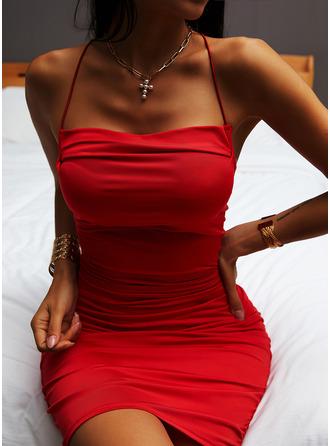 固体 ボディコンドレス ノースリーブ ミニ パーティー セクシー タイプ ファッションドレス
