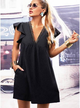 Solid Hollow-out Shift Cap Sleeve Mini Little Black Casual Tunic Dresses