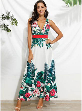 Maxi V neck Polyester Print Sleeveless Fashion Dresses