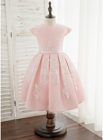 Áčkové Šaty Po kolena Flower Girl Dress - Satén/Krajka Bez rukávů Scoop Neck