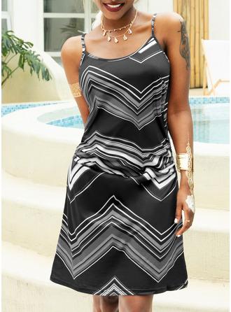 Print A-line Sleeveless Mini Casual Type Dresses