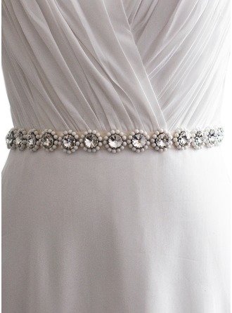Fashional Satin Sash With Rhinestones/Imitation Pearls