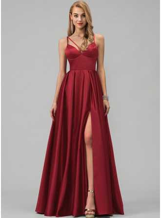 A-Line V-neck Floor-Length Satin Prom Dresses With Split Front Pockets