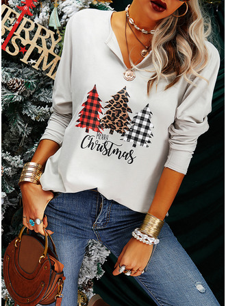 Leopard Figure Print V-Neck Long Sleeves Casual Christmas Blouses