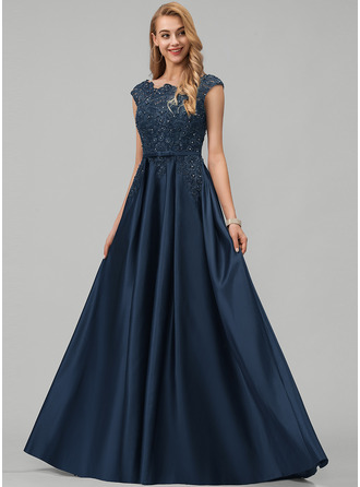 A-Line Scoop Neck Floor-Length Satin Evening Dress With Lace Beading Sequins Bow(s) Pockets
