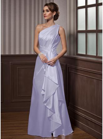 Forme Princesse Encolure asymétrique Longueur ras du sol Charmeuse Robe de soirée avec Robe à volants