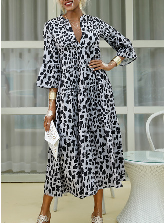 Maxi V neck Polyester Print 3/4 Sleeves/Flare Sleeves Fashion Dresses