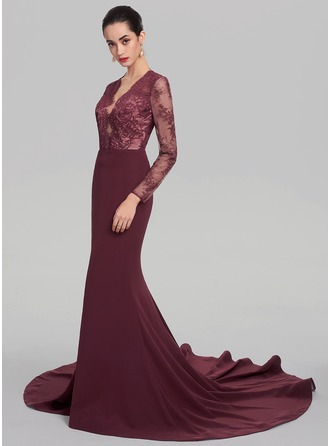 Trumpet/Mermaid V-neck Court Train Satin Evening Dress