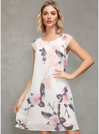 Above Knee Round Neck Cotton Blends Print Short Sleeves Fashion Dresses