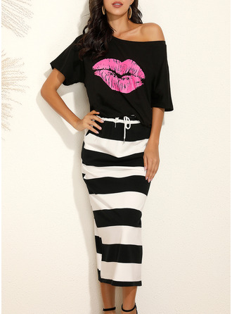 Print Striped Sheath Short Sleeves Midi Casual Dresses