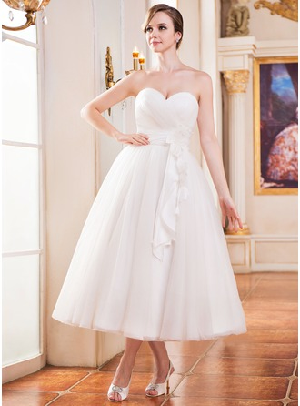 Corte A/Princesa Escote corazón Hasta la tibia Tul Vestido de novia con Volantes Flores