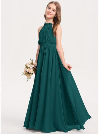 A-Line High Neck Floor-Length Chiffon Junior Bridesmaid Dress With Bow(s) Cascading Ruffles