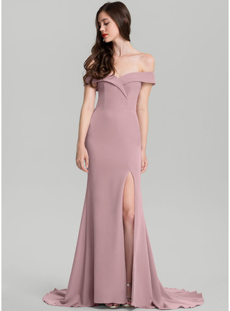 Sheath/Column Off-the-Shoulder Sweep Train Stretch Crepe Bridesmaid Dress