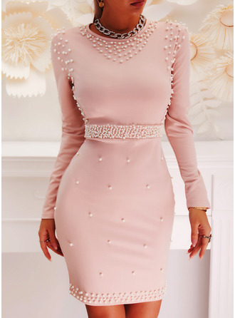 Sólido Com pedraria Bodycon Manga Comprida Midi Elegante Lápis Vestidos na Moda